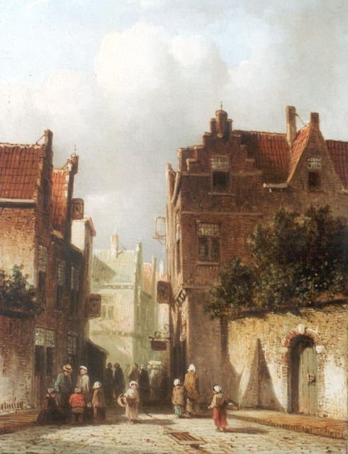 Petrus Gerardus Vertin | A Dutch town with figures in a street, oil on panel, 21.0 x 16.3 cm, signed l.l. and dated '58
