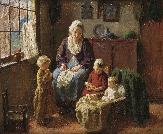 Pothast B.J.C.  | A happy family, oil on canvas 50.0 x 60.3 cm, signed l.r.
