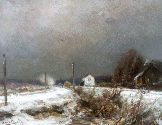 Louis Apol | A snow-covered landscape with approching stream train, oil on panel, 17.6 x 22.0 cm, signed l.l.