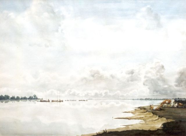 Jan Voerman sr. | A view of the river IJssel, watercolour on paper, 59.0 x 80.0 cm, signed l.r. with initials