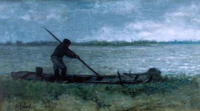 Jozef Israëls | A sand barge, oil on panel, 25.6 x 42.8 cm, signed l.l.
