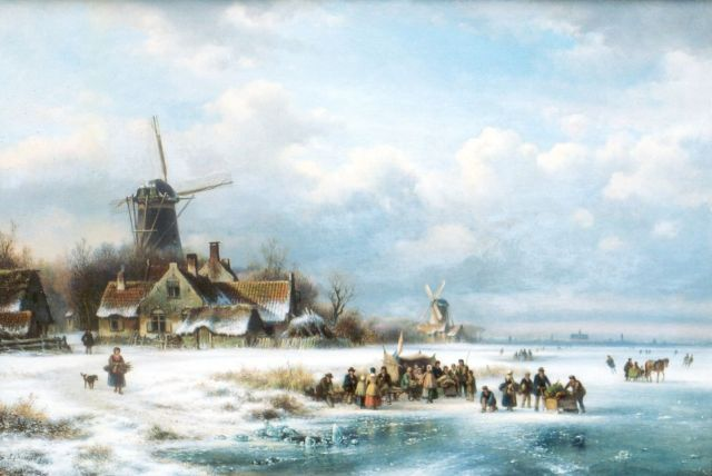 Lodewijk Johannes Kleijn | Daily activities on a frozen waterway, oil on canvas, 49.1 x 71.9 cm, signed l.l.