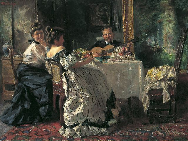 Albert Roelofs | Musical performance, oil on canvas, 62.7 x 83.5 cm, signed u.l. and painted circa 1906