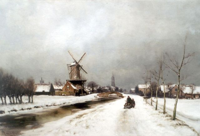 Louis Apol | Delft in winter, oil on canvas, 56.0 x 80.2 cm
