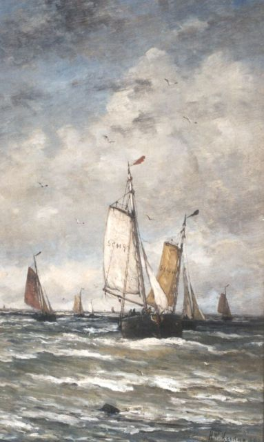Hendrik Willem Mesdag | 'Bomschuiten' in the surf, oil on canvas, 78.2 x 48.2 cm, signed l.r. and dated 1899