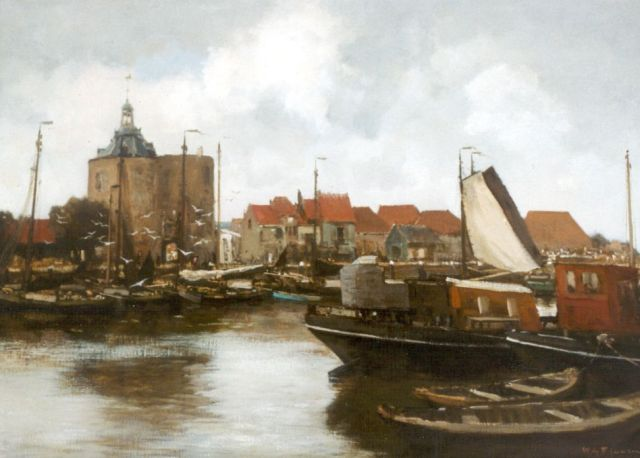 Willem George Frederik Jansen | The harbour of Enkhiuzen, with the' Drommedaris'  in the distance, oil on canvas, 72.0 x 100.0 cm, signed l.r.