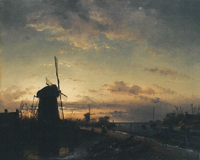 Leickert C.H.J.  | A winter landscape at sunset, oil on canvas, 43.5 x 57.6 cm, signed traces l.l.