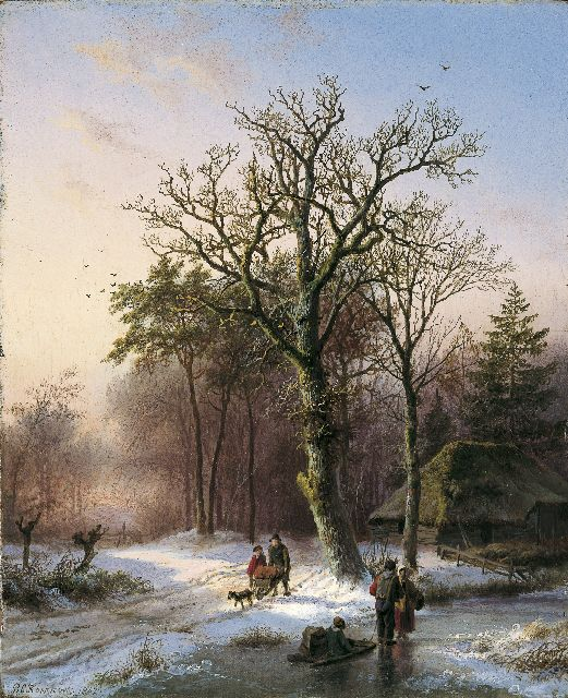 Barend Cornelis Koekkoek | A winter landscape with figures on the ice, oil on panel, 19.1 x 15.7 cm, signed l.l. and dated 1842