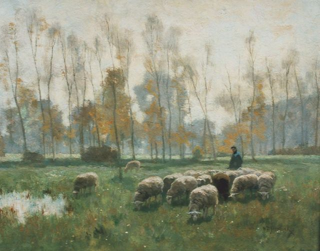 Willem Steelink jr. | A shepherd and flock in a meadow, oil on canvas, 39.0 x 50.0 cm, signed l.r.