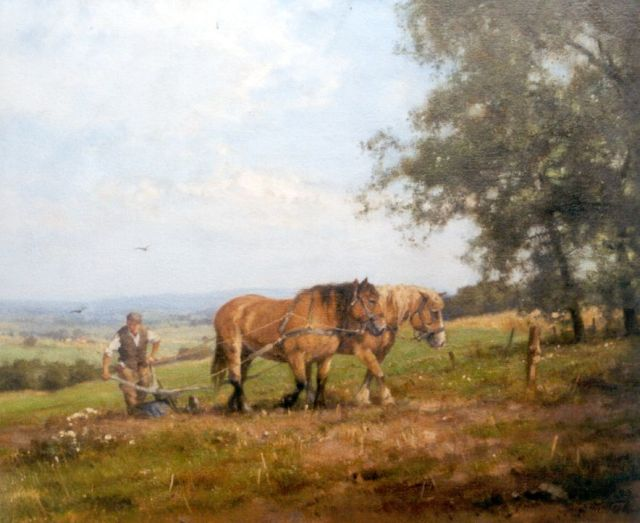 Jan Holtrup | Ploughing horses near Groesbeek, oil on canvas, 50.2 x 60.0 cm, signed l.r. and reverse