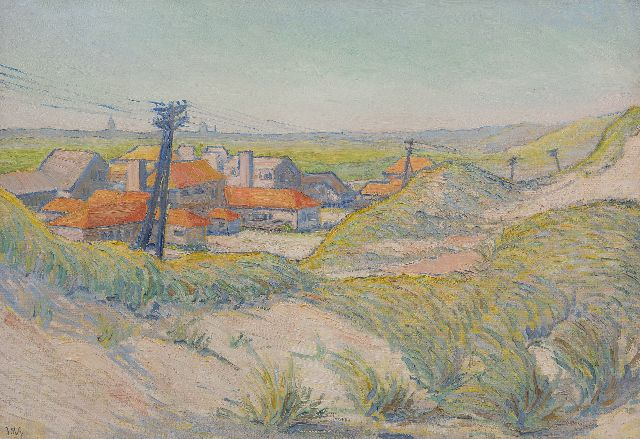 Giesen J.Th.  | Houses behind the dunes, oil on canvas 65.0 x 95.2 cm, signed l.l. with initials and on stretcher in full and dated '24 on stretcher