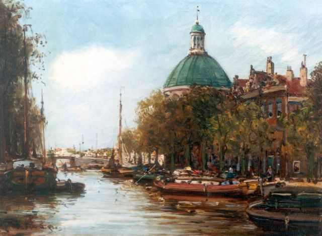 Anton Dirckx | A view of the 'Lutherse kerk', Amsterdam, oil on canvas, 18.4 x 24.2 cm, signed l.l.