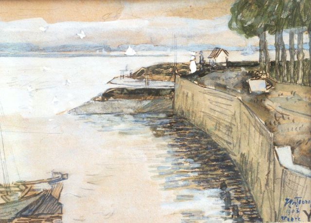 Toorop J.Th.  | The quay of Veere, chalk and watercolour on paper, 10.5 x 14.5 cm, signed l.r. and dated Veere 1903