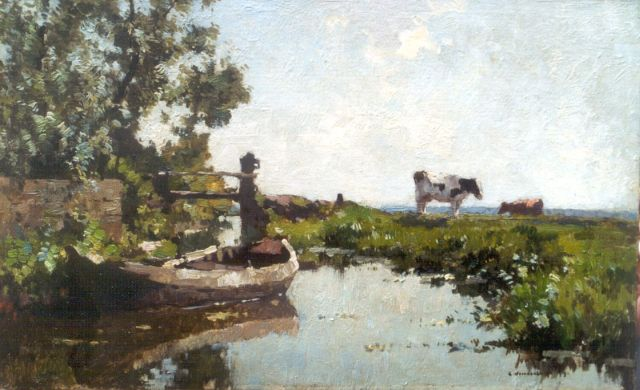 Cornelis Vreedenburgh | A polder landscape with cows, oil on panel, 23.0 x 37.2 cm, signed l.r.