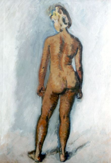 Wiegers J.  | A standing nude 'Truus Trompert', oil on canvas, 70.3 x 50.0 cm, signed l.r.