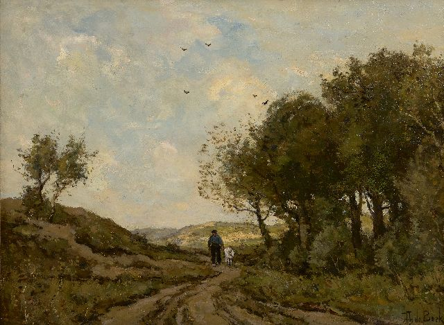 Théophile Emile Achille de Bock | A goatheard on a path in the dunes, oil on canvas, 42.8 x 58.0 cm, signed l.r.