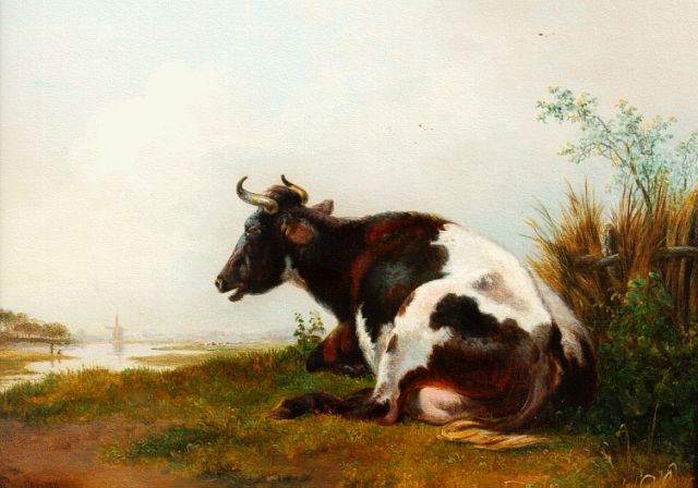 Pieter Gerardus van Os | A cow in a river landscape, oil on panel, 22.0 x 28.5 cm, signed l.l. and dated 1836