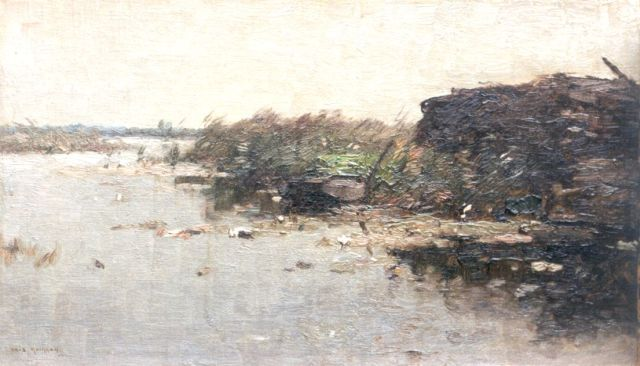 Aris Knikker | A barge in a river landscape, oil on canvas laid down on board, 23.6 x 39.8 cm, signed l.l.