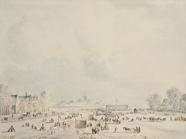 Pieter Frederik van Os | Winter amusement, brown ink and watercolour on paper, 21.0 x 28.5 cm, signed l.l.