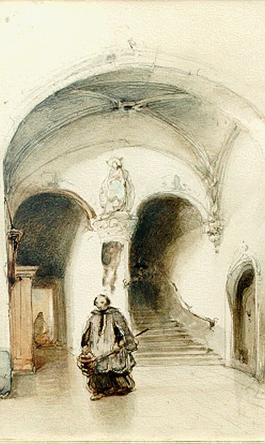 Johannes Bosboom | Sacristy, watercolour on paper, 19.5 x 12.5 cm, signed u.l. with monogram