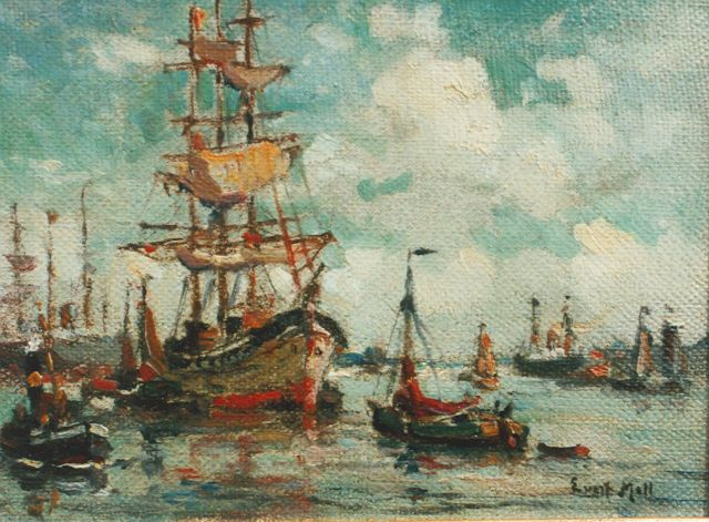 Evert Moll | Three-master in the harbour of Rotterdam, oil on canvas laid down on panel, 10.5 x 13.4 cm, signed l.r.