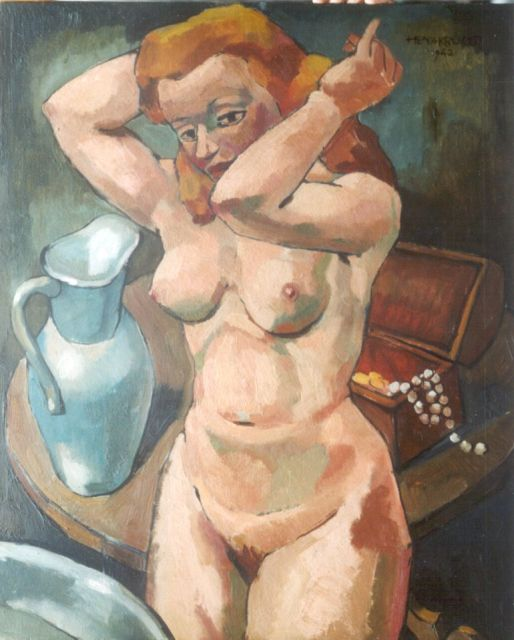 Henk Krijger | A female nude, oil on panel, 64.5 x 54.0 cm, signed u.r. and dated 1942