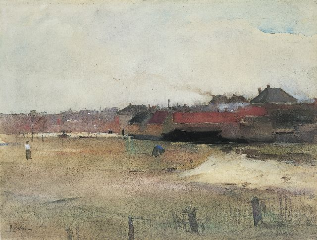 Floris Arntzenius | A view of a village, seen from the beach, watercolour on paper, 29.8 x 39.4 cm, signed l.l. and dated '90/'95