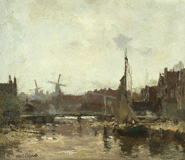 Jacob Maris | A view of Schiedam, oil on panel, 24.3 x 28.1 cm, signed l.l.