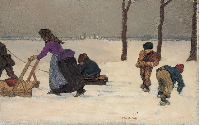 Louis Albert Roessingh | A winter landscape with children playing, oil on panel, 21.4 x 32.4 cm, signed c.r. and dated 1908