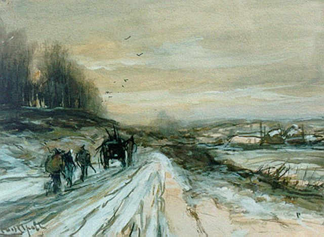 Louis Apol | A horse-drawn cart in a snow-covered landscape, gouache on paper, 16.0 x 21.8 cm, signed l.l.