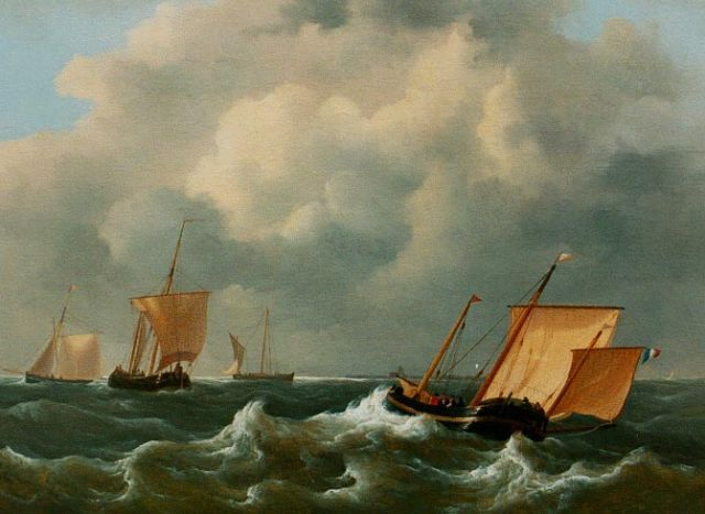 Frans Jacobus van den Blijk | Shipping on choppy waters, oil on panel, 27.4 x 36.8 cm