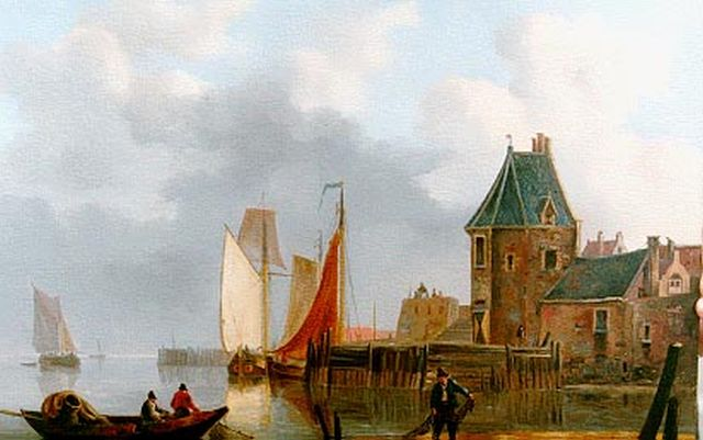Frans Jacobus van den Blijk | Moored fishing boats, fort Rammekes (Westerschelde), oil on panel, 27.7 x 36.9 cm