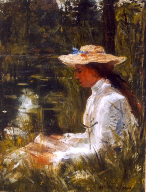 Simon Willem Maris | An elegant lady reading by a pond, oil on canvas, 52.3 x 40.0 cm, signed l.r.