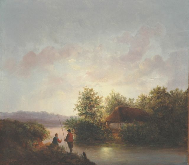 Josephus Gerardus Hans | Anglers in a river landscape by sunset, oil on panel, 27.1 x 31.1 cm, signed l.l. and dated '47
