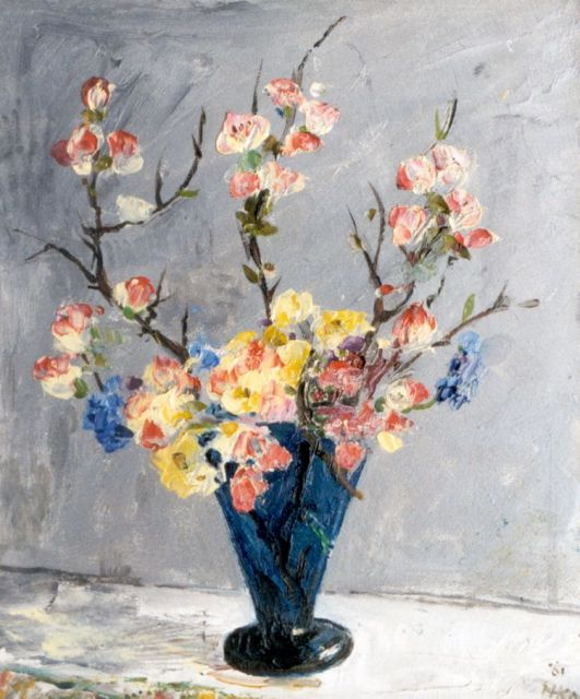 Harm Kamerlingh Onnes | A vase with flowering sprigs, oil on board, 30.4 x 24.0 cm, signed l.r. with monogram and dated '61