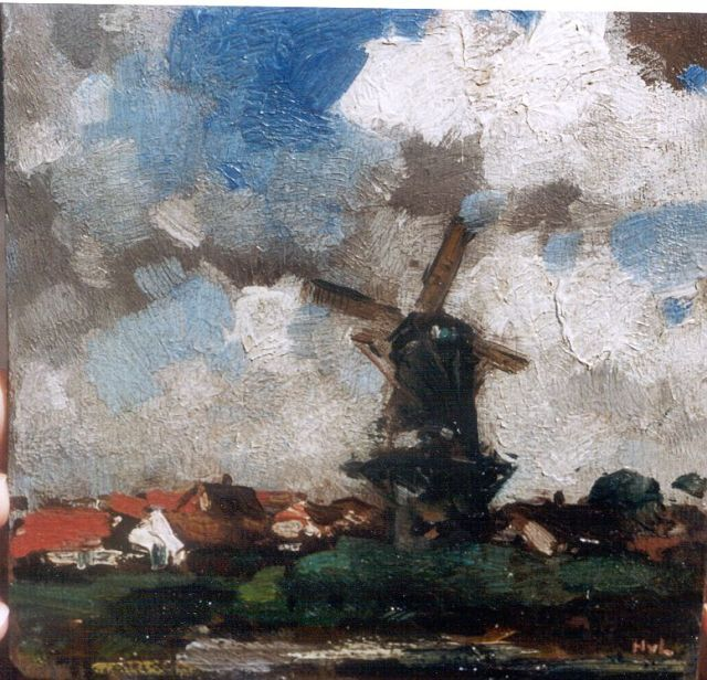 Henk van Leeuwen | Landscape with windmill, oil on panel, 14.2 x 14.0 cm, signed l.r. with initials