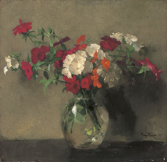 Georg Rueter | A flower still life, oil on panel, 26.5 x 27.5 cm, signed l.r. and dated '15