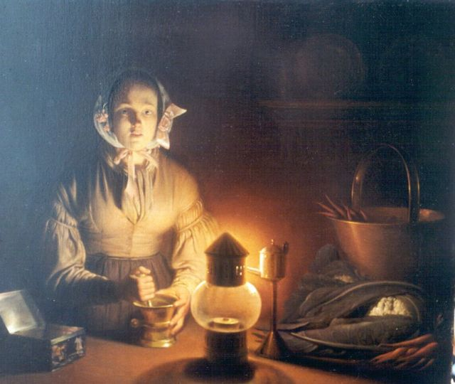Petrus van Schendel | A young woman by candlelight, oil on panel, 27.2 x 31.4 cm, signed c.r.