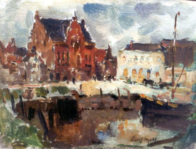Evert Moll | The city hall, Ooltgensplaat, oil on canvas laid down on painter's board, 15.7 x 20.8 cm, signed l.r.