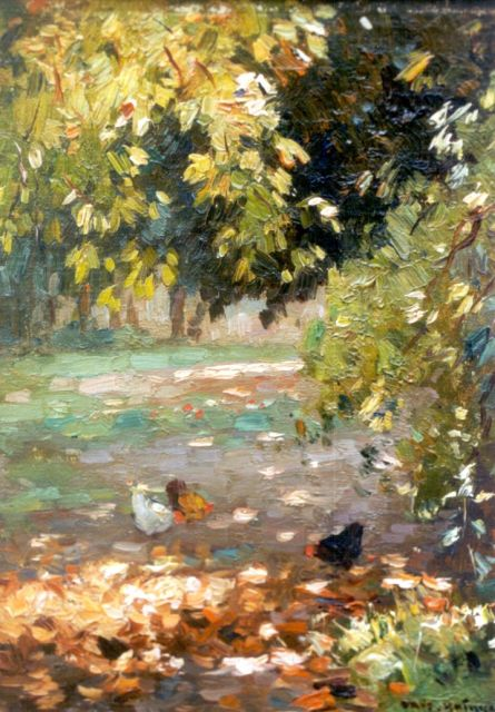 Aris Knikker | Chickens in a forest lanscape, oil on canvas laid down on painter's board, 23.9 x 18.0 cm, signed l.r.