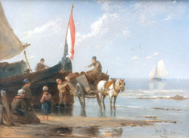 Pieter Cornelis Dommershuijzen | Unloading the catch, oil on panel, 14.9 x 20.2 cm, signed with monogram and dated '86