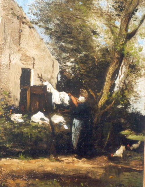 Willem George Frederik Jansen | Washing-day, oil on panel, 27.5 x 21.7 cm, signed l.r.
