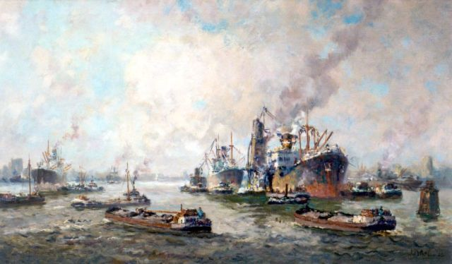 Joop Molenaar | Harbour activities, Rotterdam, oil on canvas, 59.9 x 99.9 cm, signed l.r.