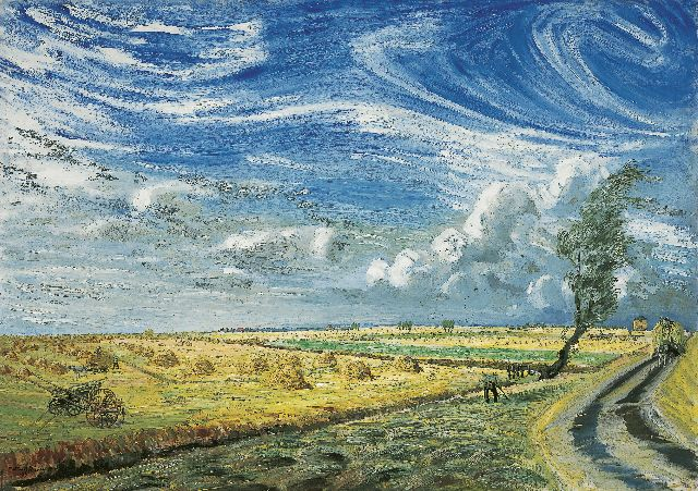 Marius Richters | Haycocks in a landscape, oil on canvas, 77.3 x 109.5 cm, signed l.l. and dated '37
