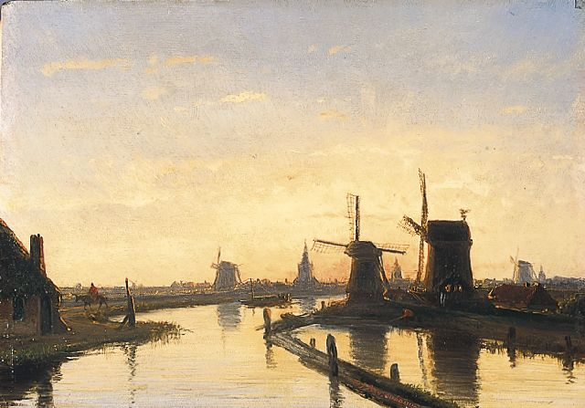 Nicolaas Johannes Roosenboom | Windmills along a waterway near Overschie, oil on panel, 21.5 x 30.8 cm, signed c.r.