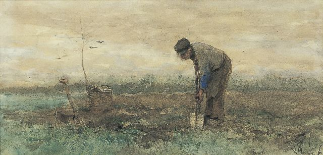 Anton Mauve | A farmer working on a field, watercolour on paper, 19.9 x 40.4 cm, signed l.r.