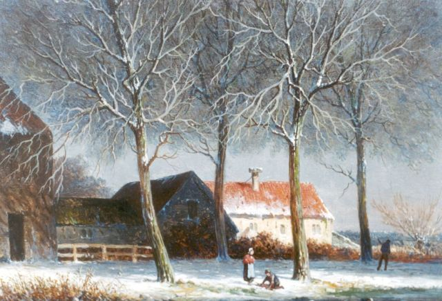 Adrianus Eversen | A path near a farm in winter, oil on panel, 17.6 x 24.0 cm, signed l.l.
