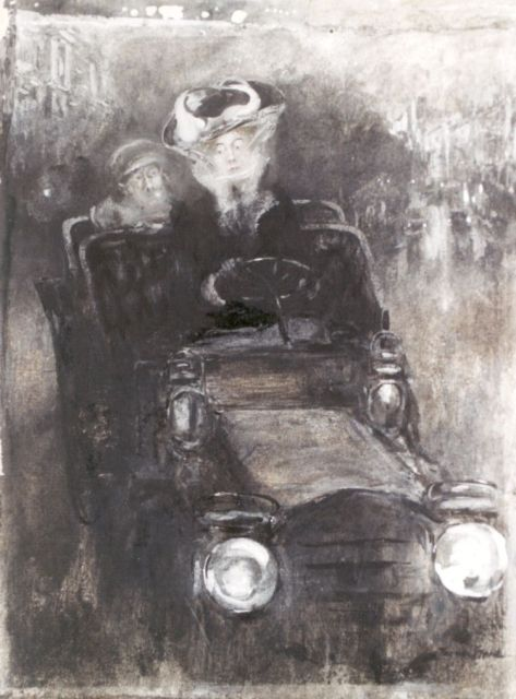 Friedrich Stahl | A female driver, charcoal, watercolour and gouache on paper laid down on cardboard, 27.0 x 20.7 cm, signed l.r.