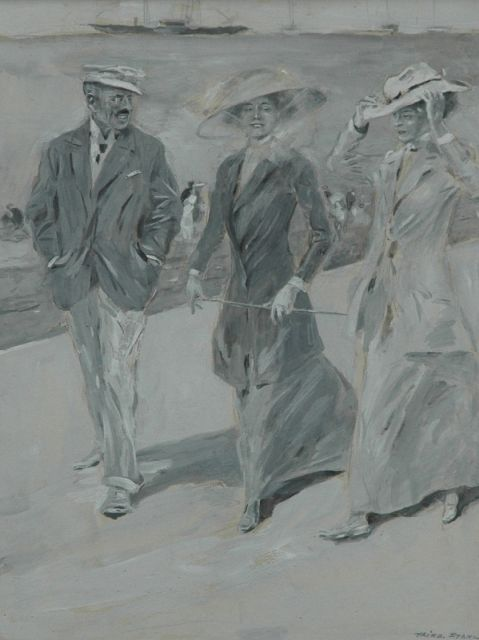 Friedrich Stahl | Strolling on the boulevard, gouache on cardboard, 18.0 x 23.5 cm, signed l.r.