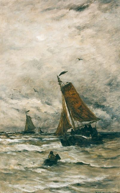 Hendrik Willem Mesdag | A sailing vessel in the surf, oil on canvas, 78.0 x 48.2 cm